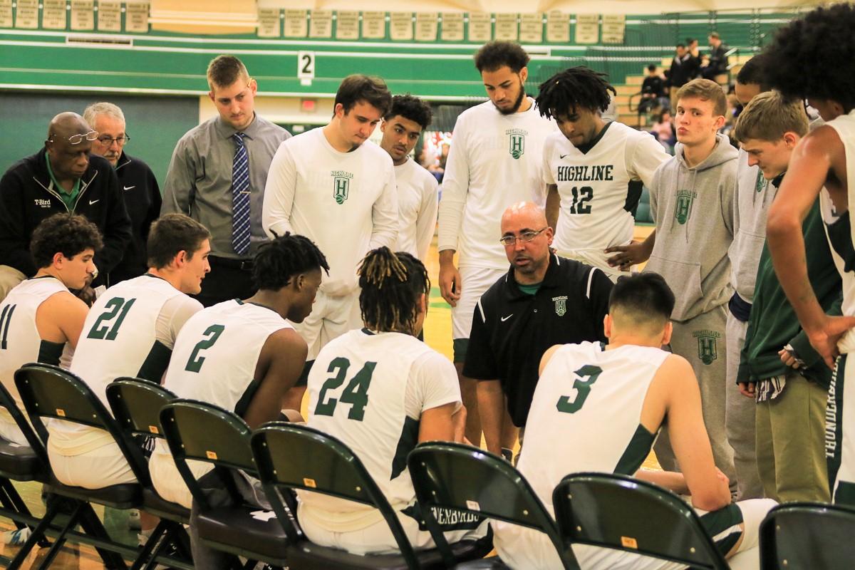 Men Basketball Coaching Huddle